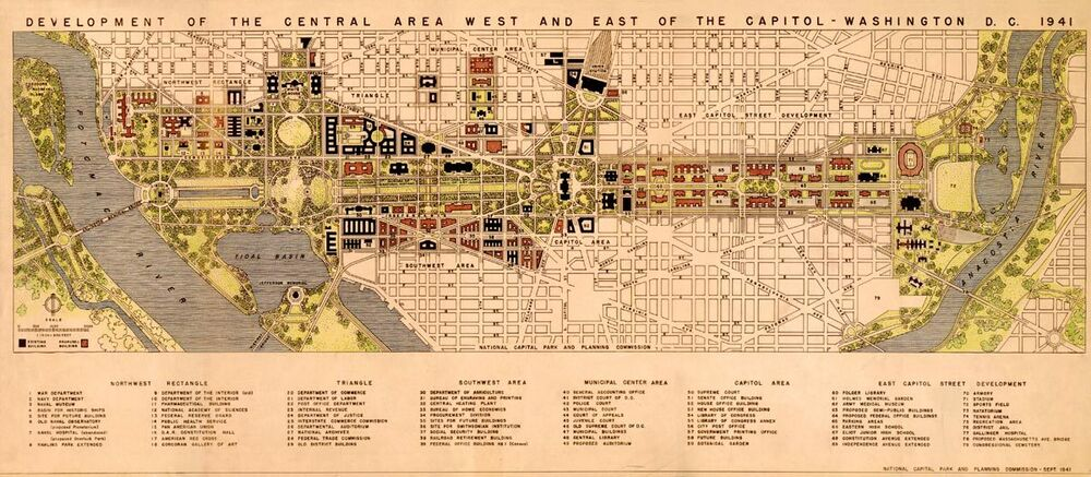 Huge Downtown Washington Dc Capital City Map 1941 Vintage Reprint Poster 24 X55 Ebay