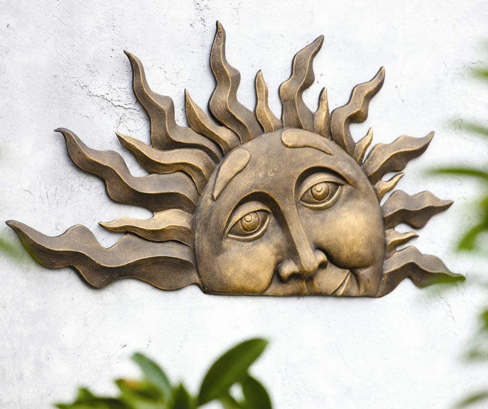 rising sun face wall hanging indoor outdoor half sunburst garden plaque 28 ebay. Black Bedroom Furniture Sets. Home Design Ideas