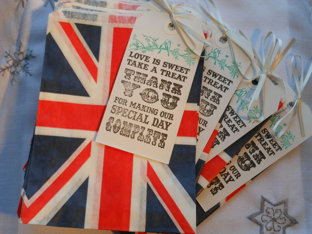 40 Union Jack Sweet Bags 4 Tags Wedding Candy Bar Bags Wedding Favour Sweet Bag