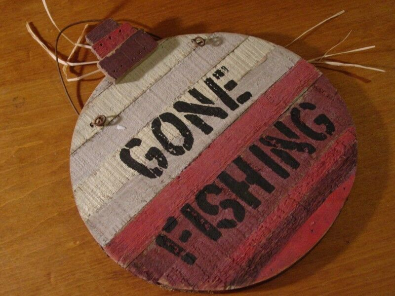 Gone fishing rustic red wood plank fishing bobber for Fisherman home decor