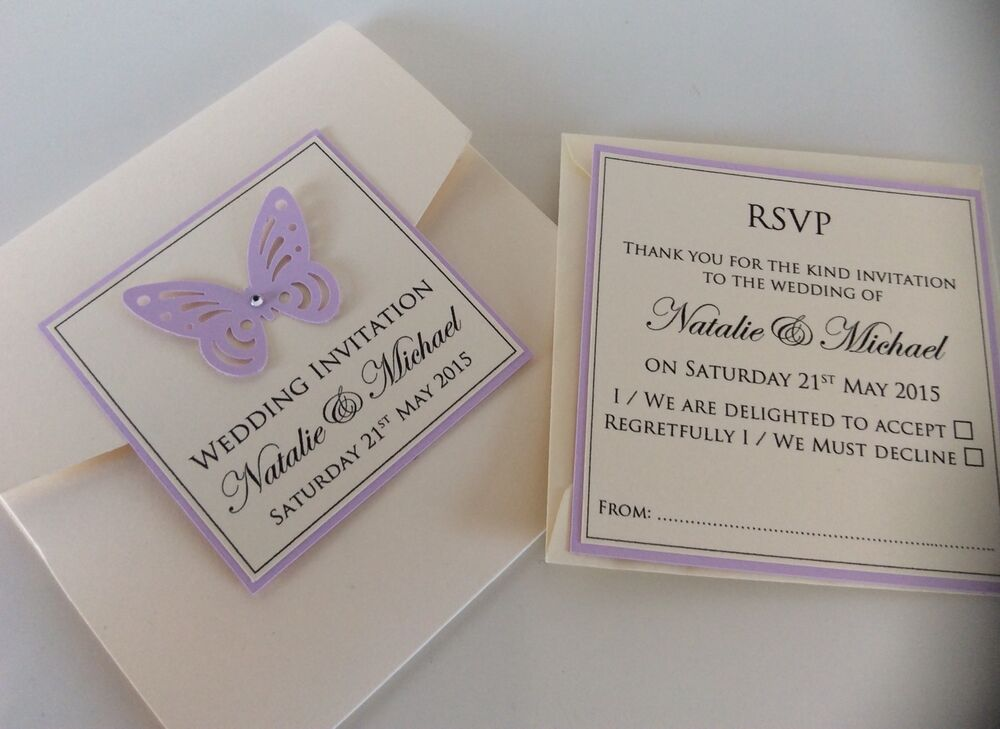 Buy Wedding Invitations Online Uk: Handmade Personalised Pocketfold Butterfly Wedding