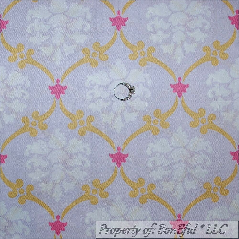 Boneful fabric fq cotton quilt purple white pink gold for Pink nursery fabric