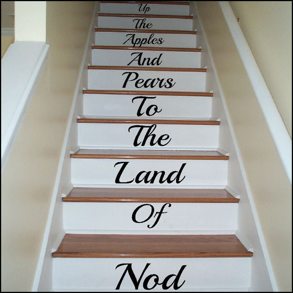 large stairs up the apple and pears to land of nod wall sticker transfer decal ebay. Black Bedroom Furniture Sets. Home Design Ideas