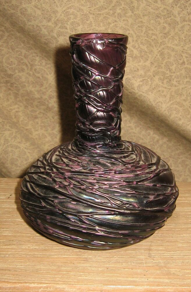 Antique loetz art glass bottle form vase rare color purple Painting old glass bottles