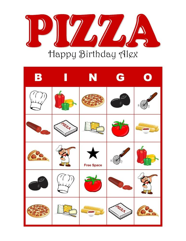Pizza Party Personalized Birthday Party Game Bingo Game