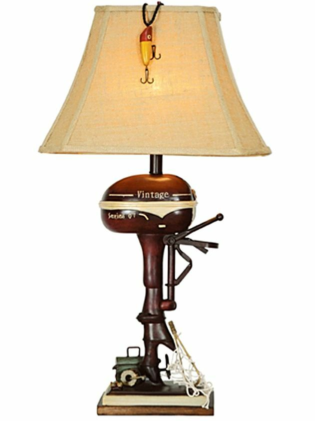 Sailboat Table Lamp : Vintage style fishing boat outboard motor table lamp