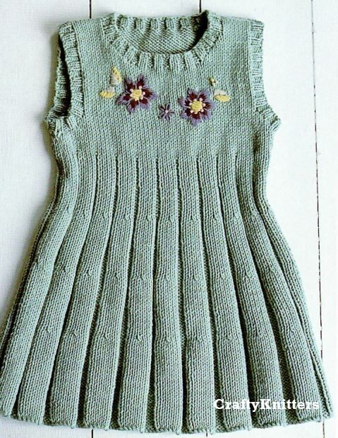 Knitted Dress Pattern For 2 Year Old : Knitting Pattern Girls Embroidered Pleated Dress Pinafore ...