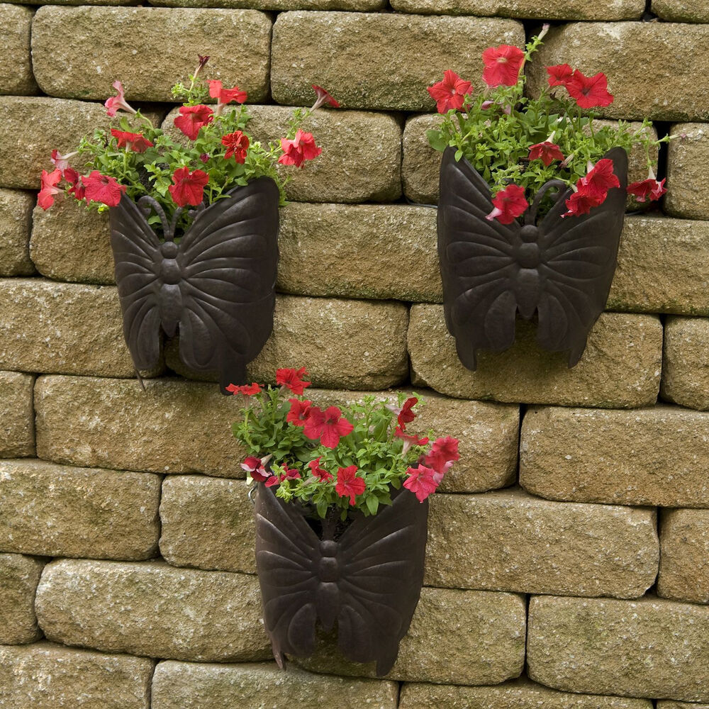Planters large wall metal butterfly 3 pk garden flower for Decorative outdoor pots