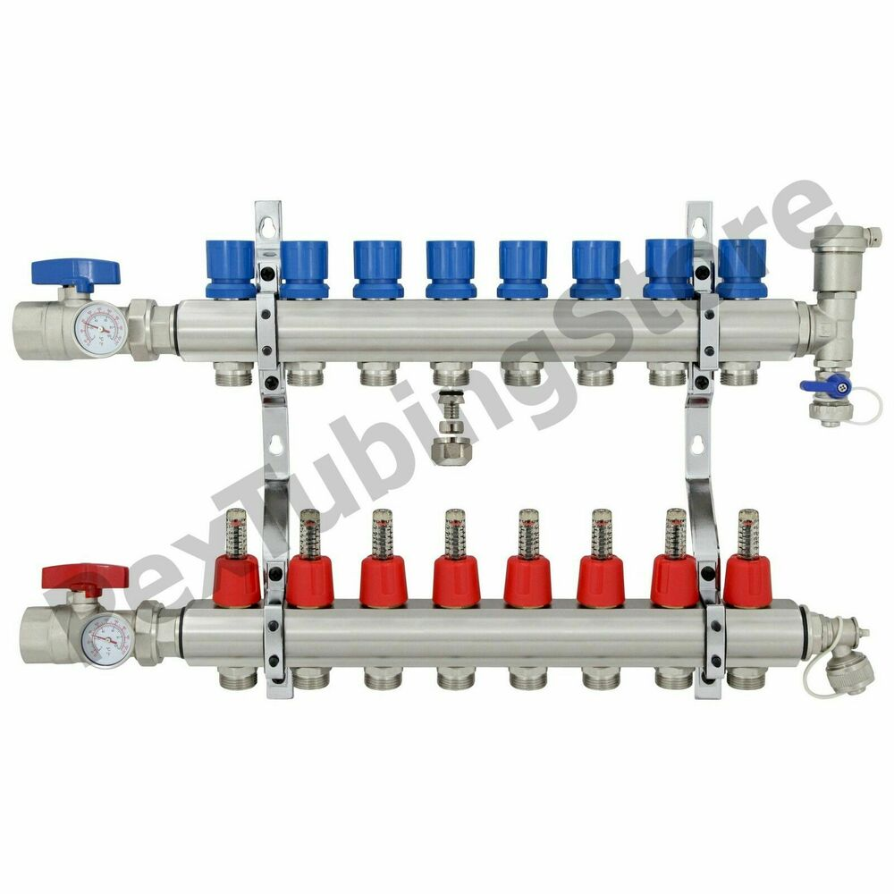 8 branch pex radiant floor heating manifold set brass for Pex plumbing pro e contro