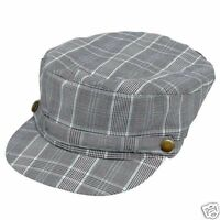 Black Light Blue Plaid Newsboy Cabbie Fishermans Cap Hat NWT