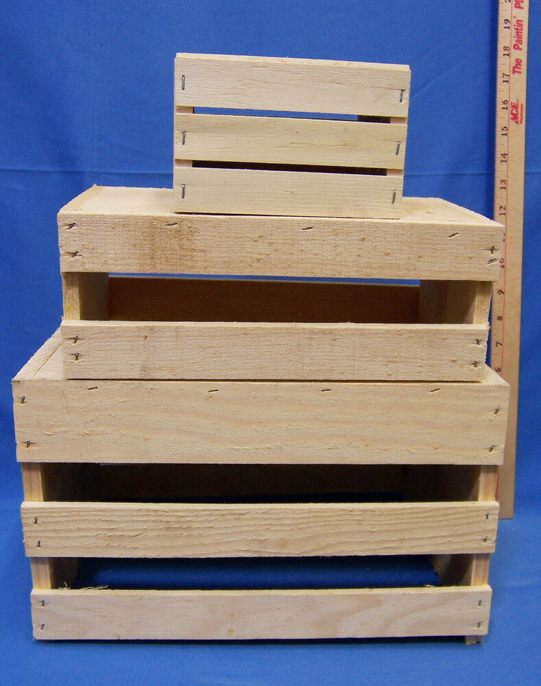 Set 3 hand crafted wood wooden nesting boxes fruit crates home decor primitive ebay - Decorative wooden crates ...
