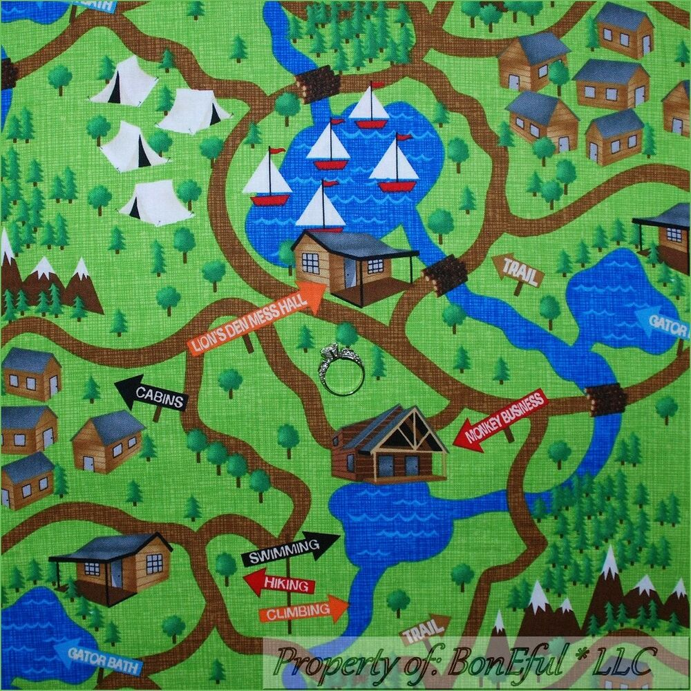 Boneful fabric fq cotton quilt green boy girl scout scenic for Boy quilt fabric