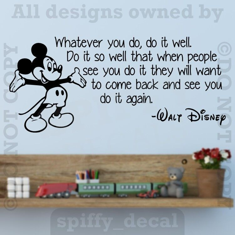 Disney Mickey Whatever You Do It Well Wall Quote Vinyl Wall Decal Sticker