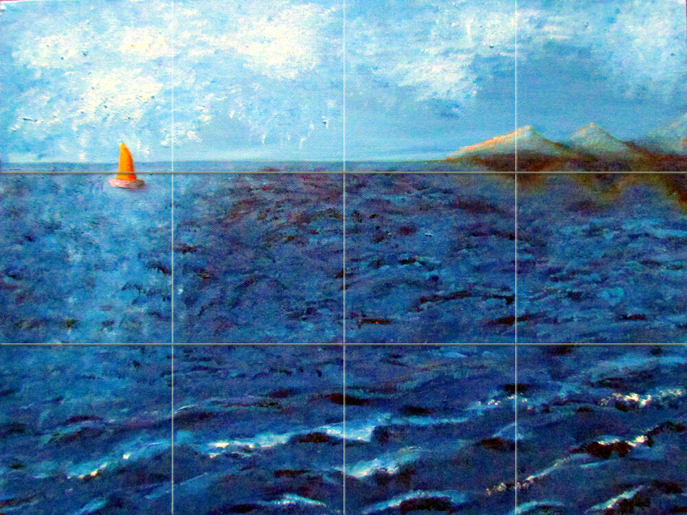 Art ocean marine sailboat ceramic mural backsplash bath for Artwork on tile ceramic mural