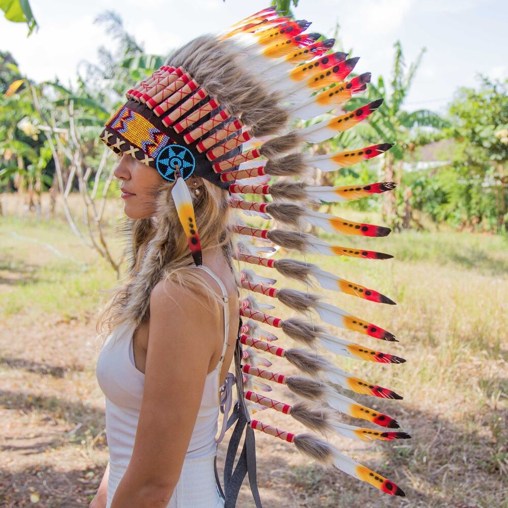 Chief indian headdress 90cm feathers native american costume war