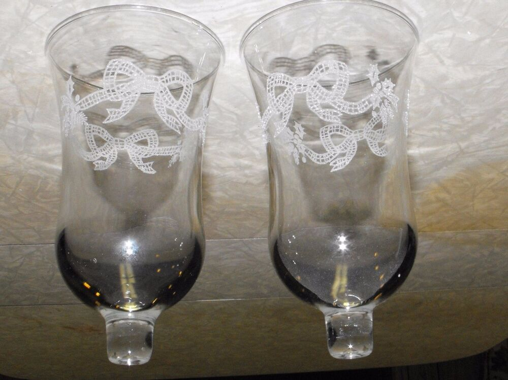 Pair Home Interior Homco Bow Holly Etched Glass Tulip