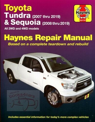 Haynes Toyota (Tundra 2007-2012) and (Sequoia 2008-2012) repair manual