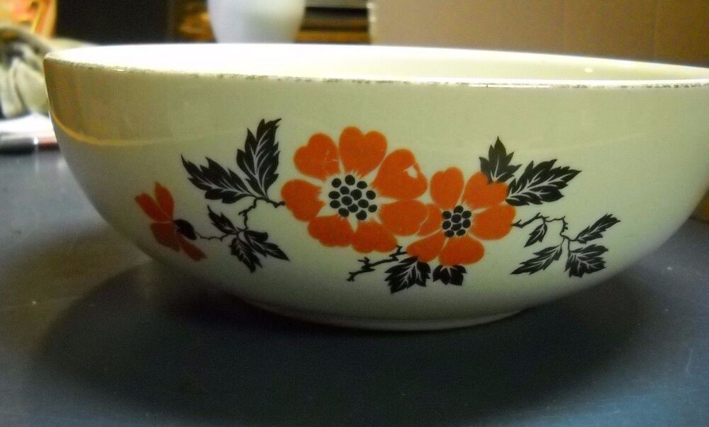 Vintage Hall Pottery China Red Poppy Large Serving Fruit