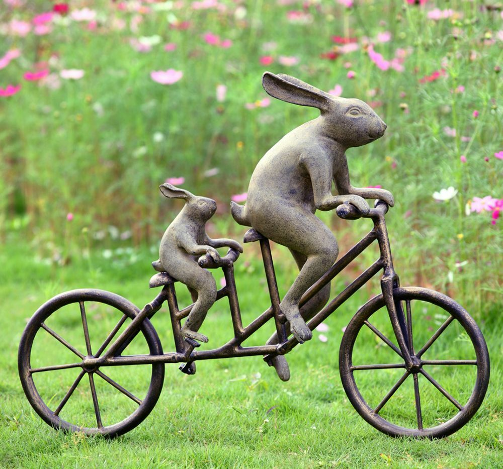 Rabbit tandem bicycle bunnies garden sculpture metal bunny Outdoor bicycle