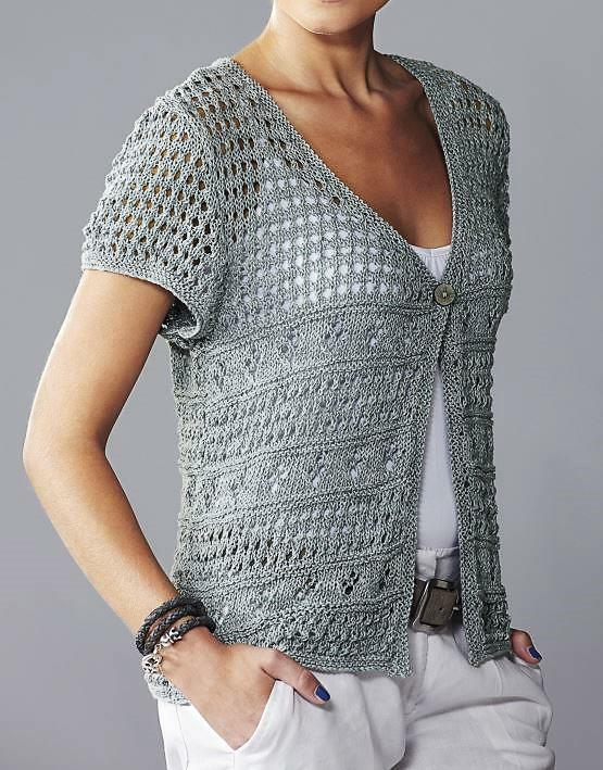 Knitting Pattern for Womens Lacy Short Sleeve Cover-up ...