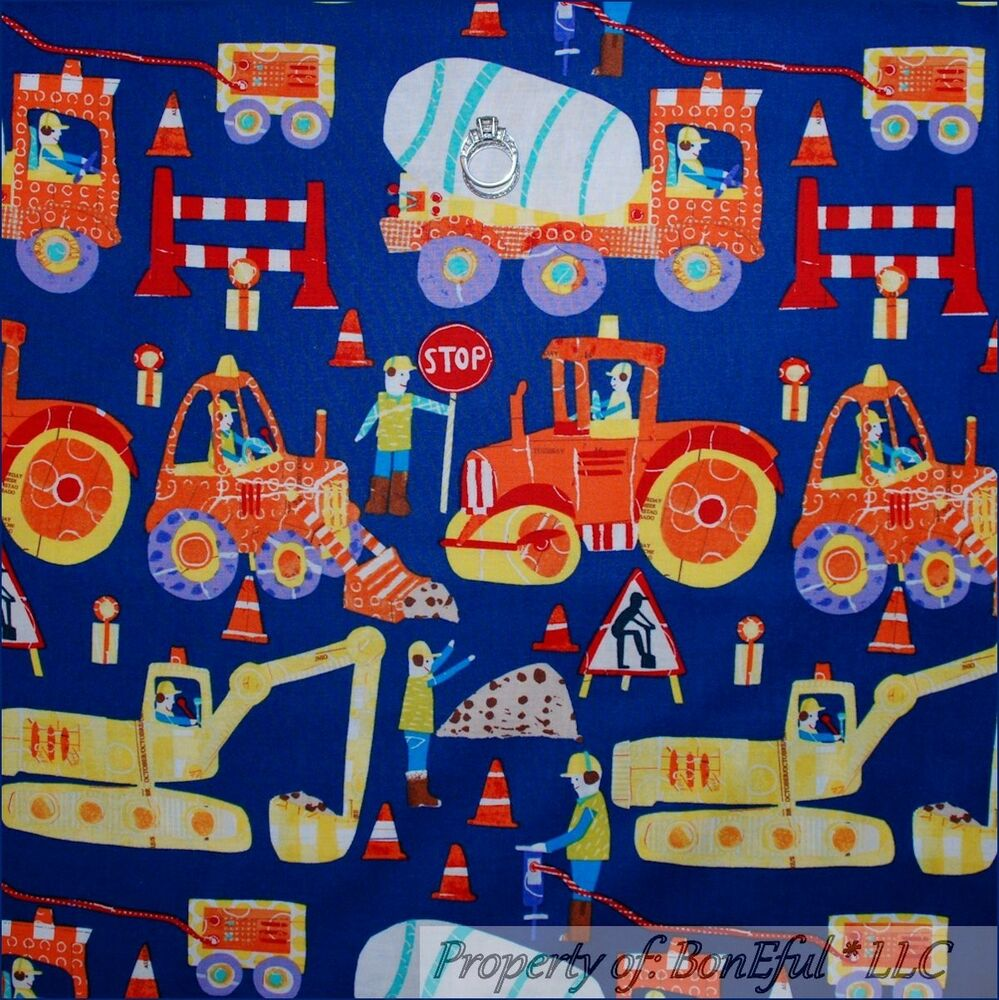 Boneful fabric fq cotton blue red monster tractor truck for Monster truck fabric