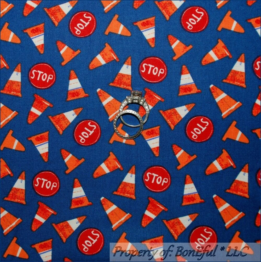 Boneful fabric fq cotton quilt blue red truck stop road for Baby monster fabric