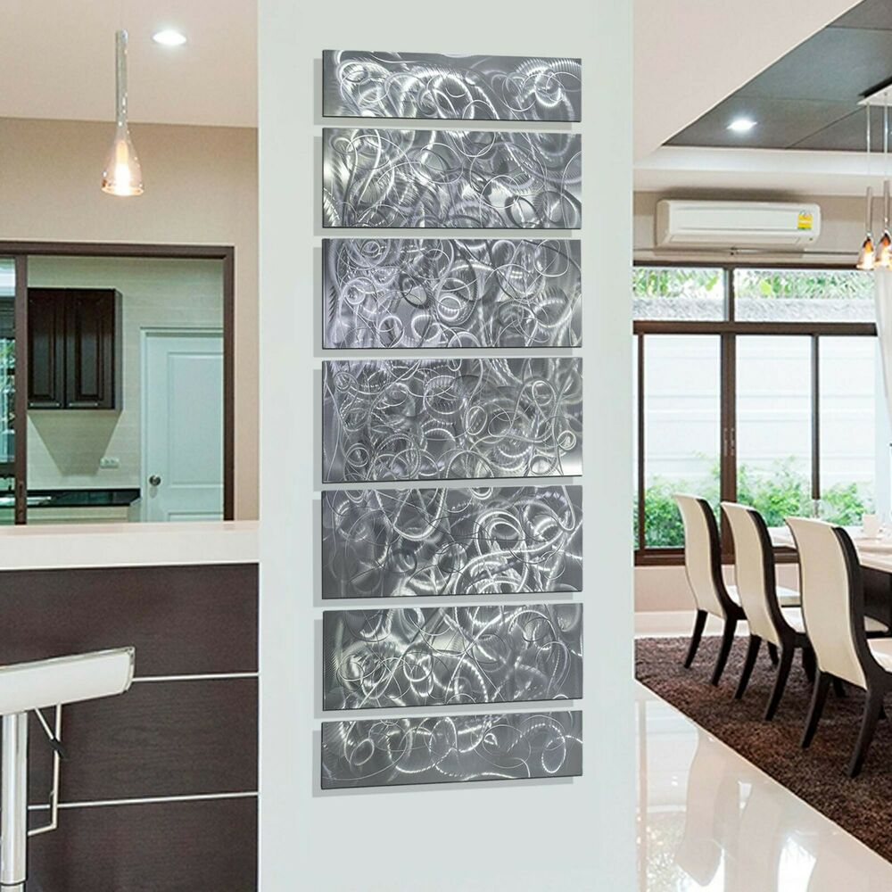Abstract silver multi panel metal wall art decor for Silver wall art