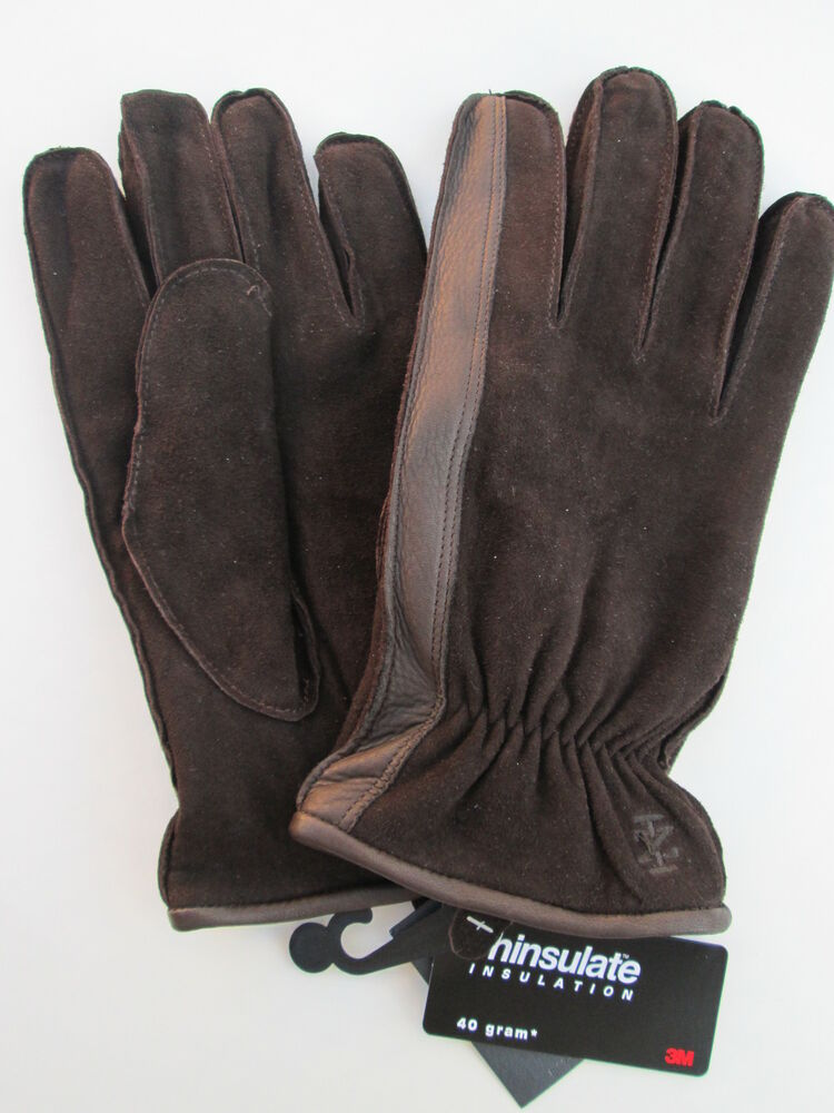 Mens leather gloves thinsulate - Mens L Izod Brown 100 Leather Shell With 40 Gram 3m Thinsulate Lining
