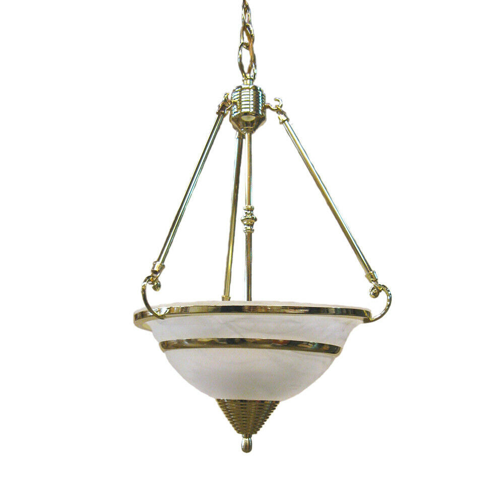 Pendant Lamps Chandeliers: Polished Brass And Alabaster Glass 3 Light Chandelier