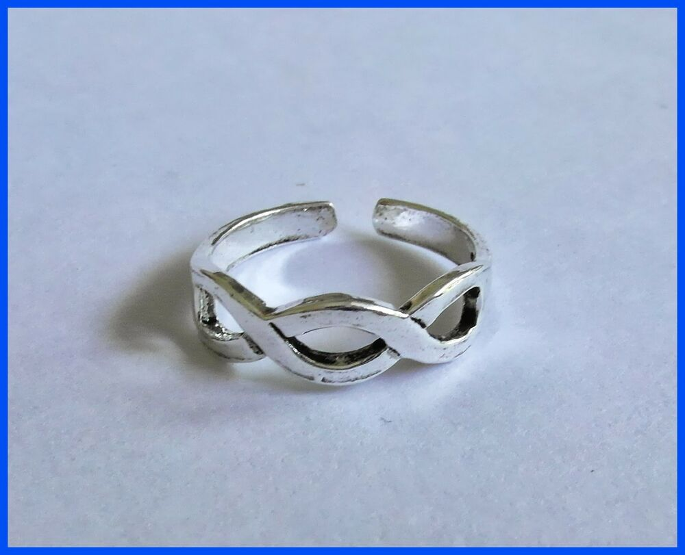 sterling silver 925 adjustable entwined band toe ring