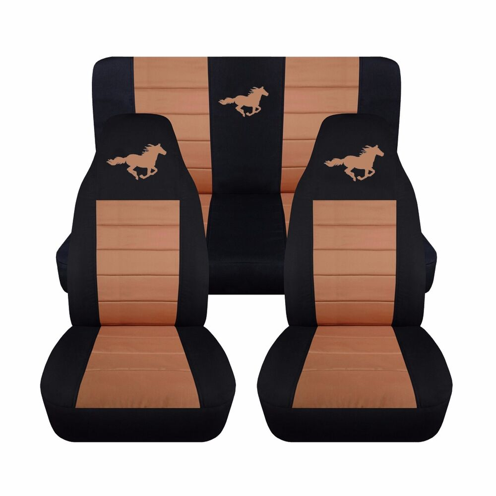front rear black tan horse seat covers fits ford mustang convertible 1994 2004 ebay. Black Bedroom Furniture Sets. Home Design Ideas