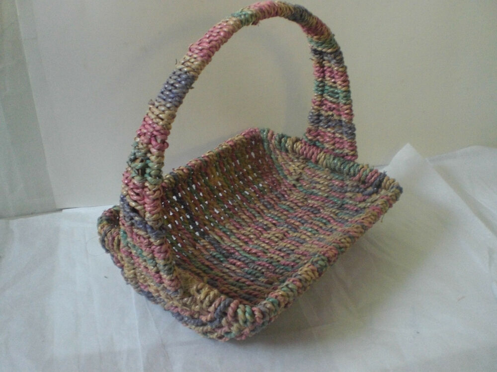 Two hand woven christmas wicker baskets hand made for Home made decoration pieces