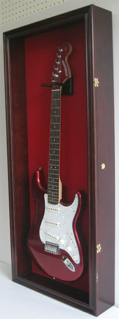 electric guitar display case wall frame cabinet wood box gtar2 red ma ebay. Black Bedroom Furniture Sets. Home Design Ideas
