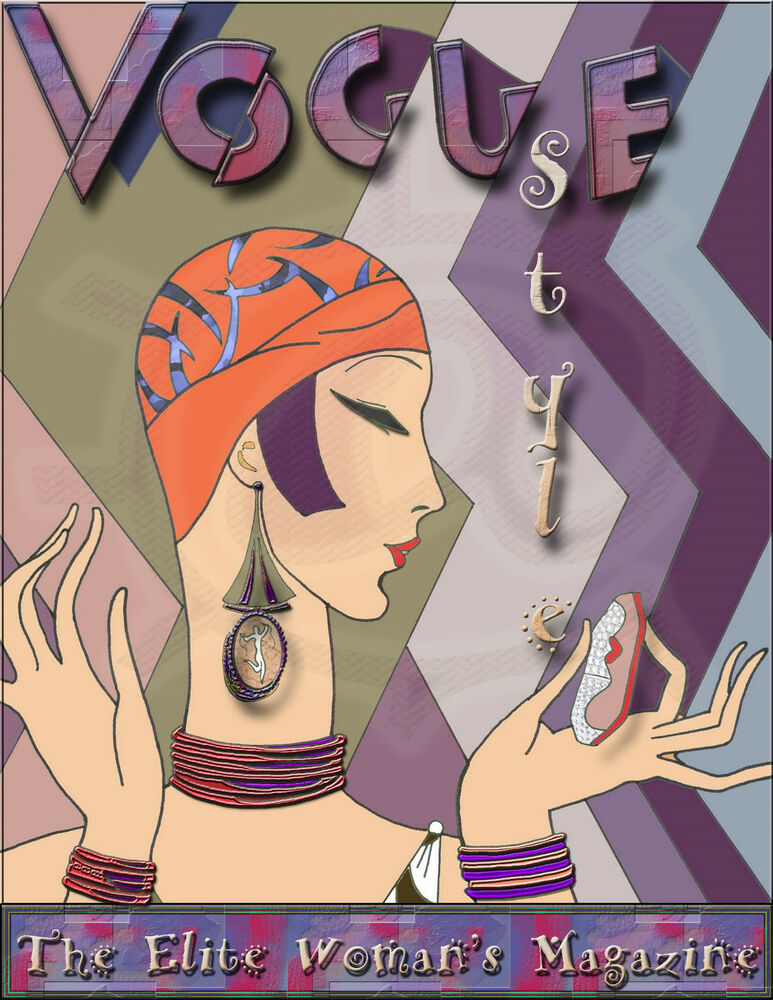 Vintage art deco vogue poster art print elite woman 39 s for Miroir art deco 1930