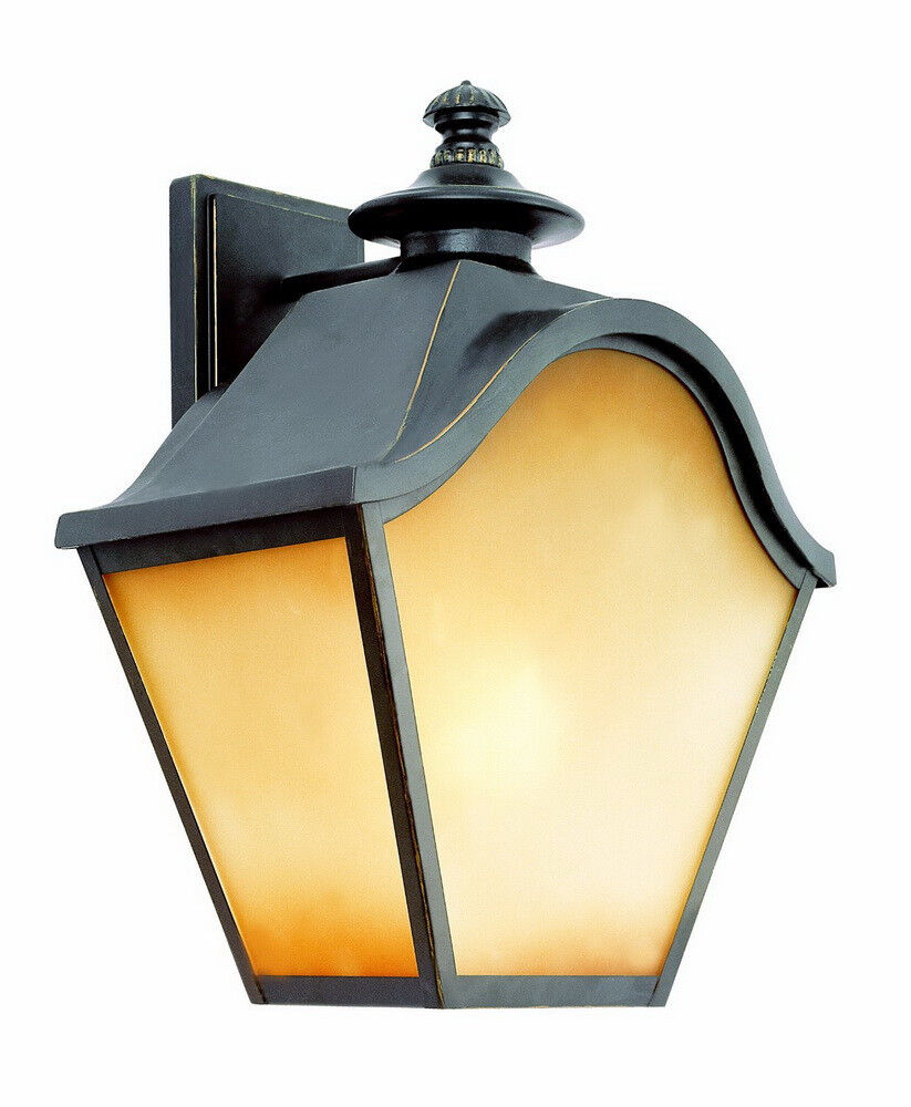 Outdoor Wall Light Stained Glass : Bronze With Amber Tea Stained Glass 3 Light Exterior Wall Fixture eBay
