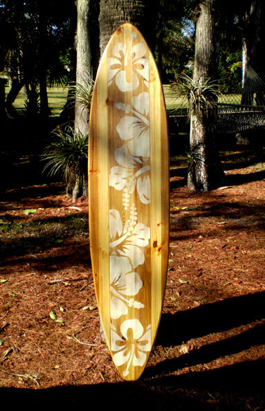 Vintage Natural Distress Style 5 Foot Longboard Wooden