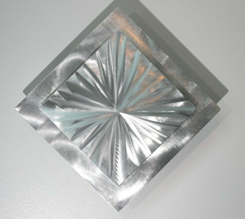Metal Abstract Modern Silver Wall Art Sculpture Contemporary Decor By