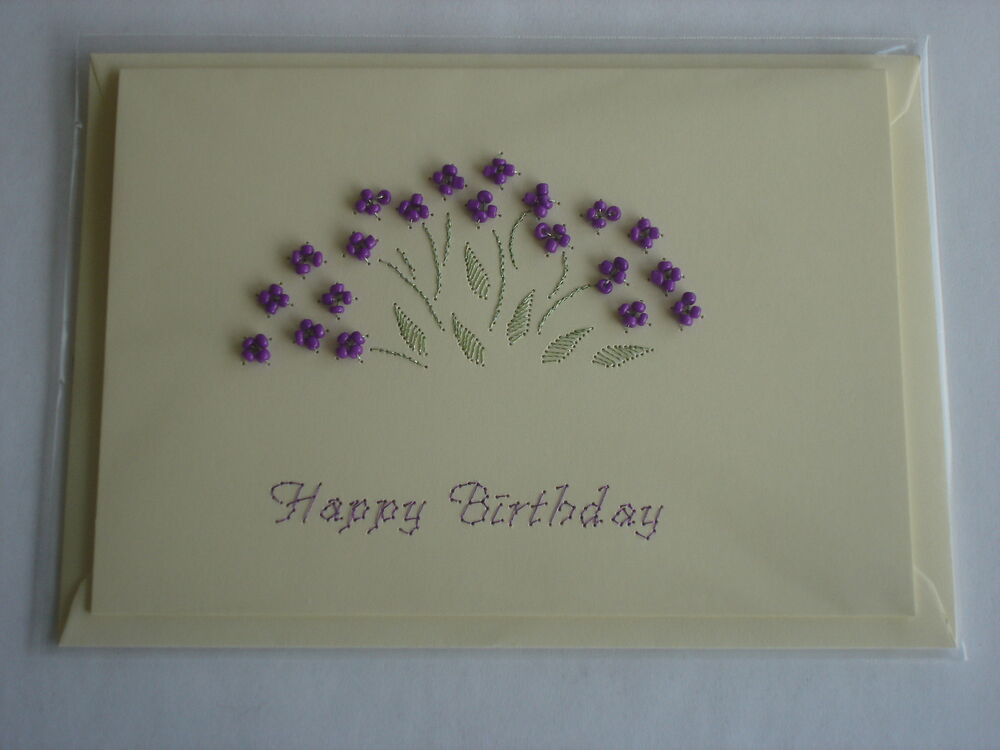 HANDMADE STITCHED BEADED FLOWERS BIRTHDAY CARD ON CREAM