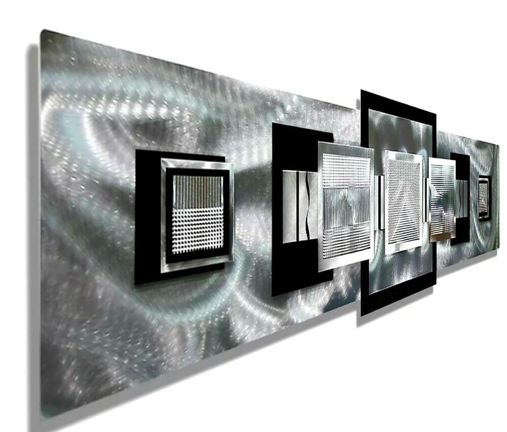 Large Modern Abstract Aluminum Metal Wall Art Decor Silver