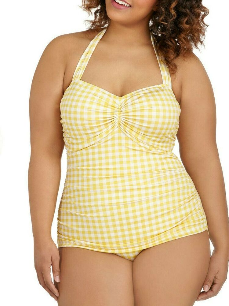 Esther Williams Swim Suit YELLOW GINGHAM PLAID vintage ...