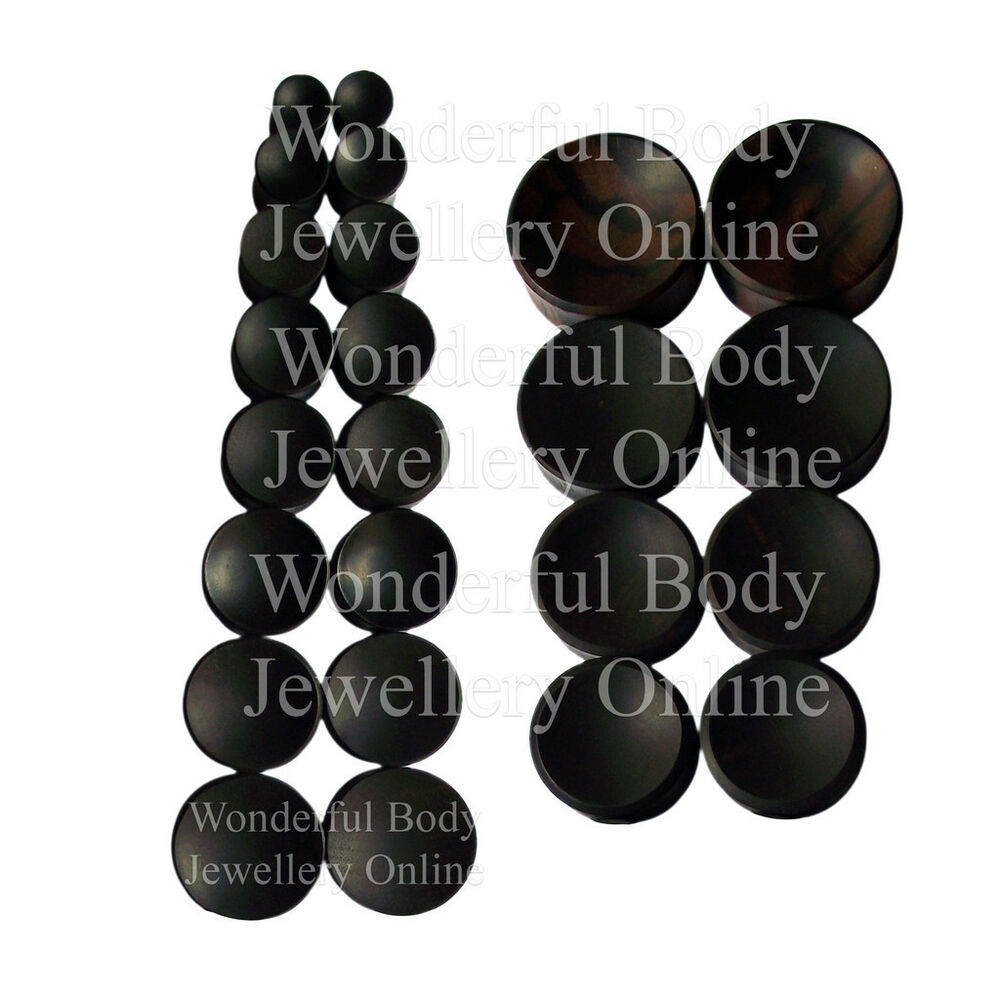 1 x ebony wood concave double flared ear plug organic for Piercing orecchio dilatatore