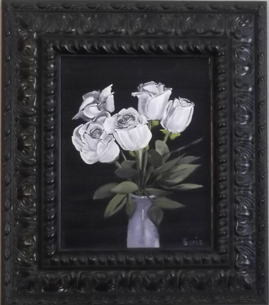 Original oil painting 8x10 five white roses canvas with for White canvas painting