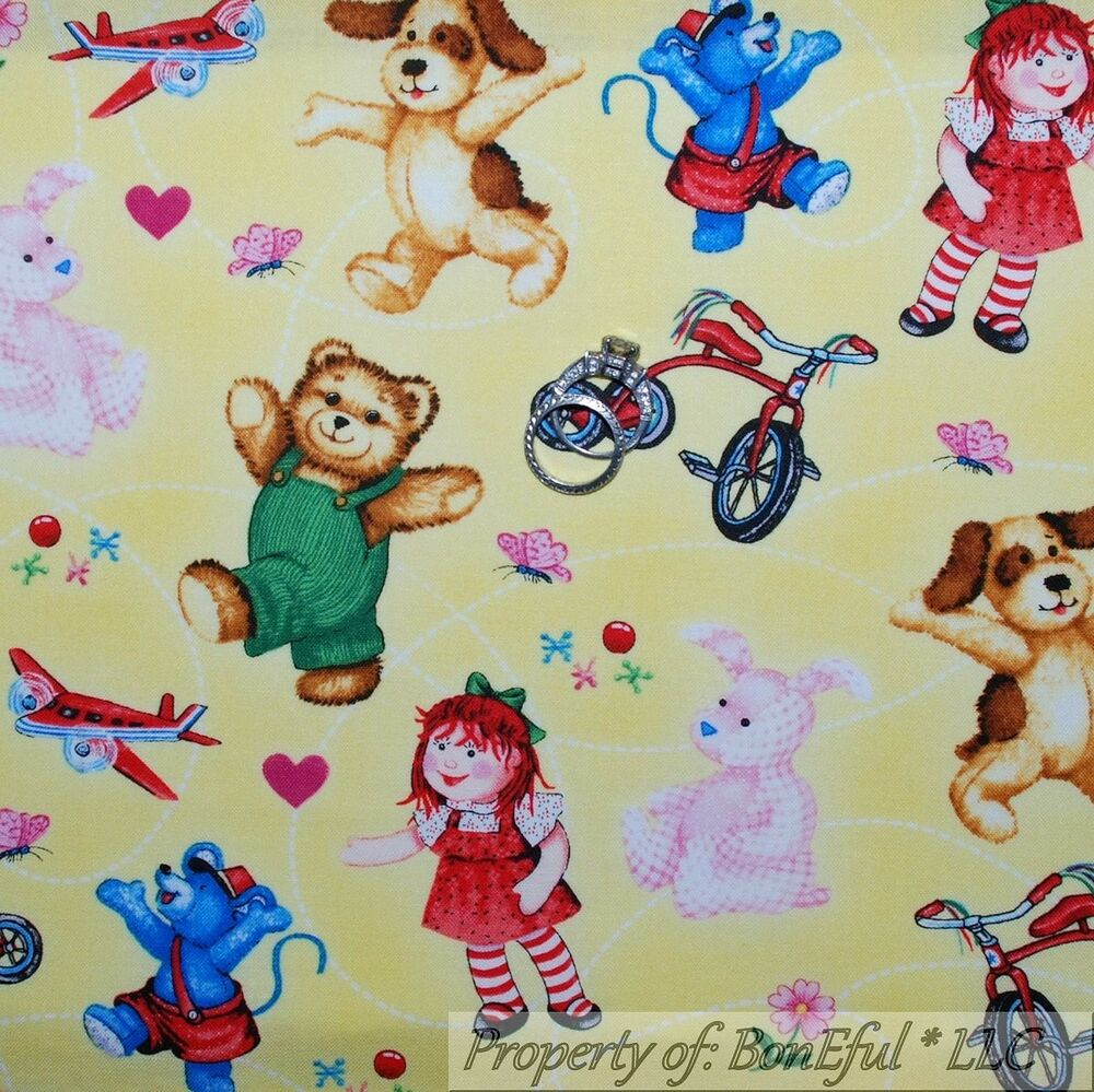 Boneful fabric fq cotton yellow baby vtg corduroy bear for Yellow nursery fabric