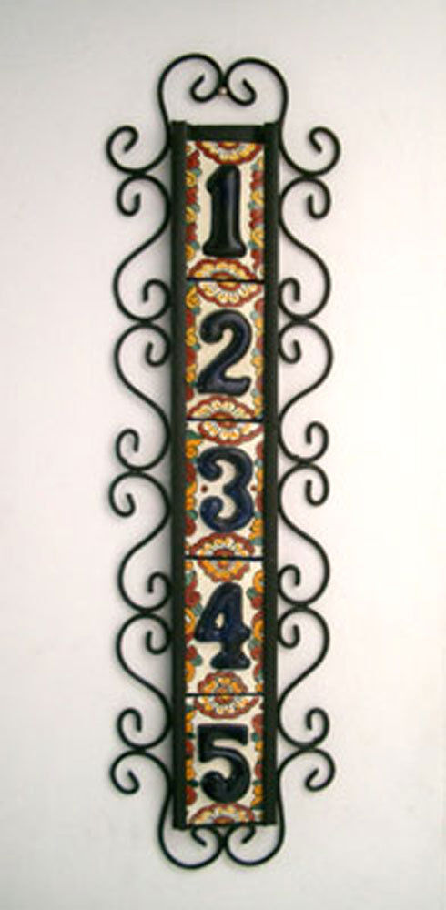 5 mexican blue house numbers tiles with vertical iron for House number frames