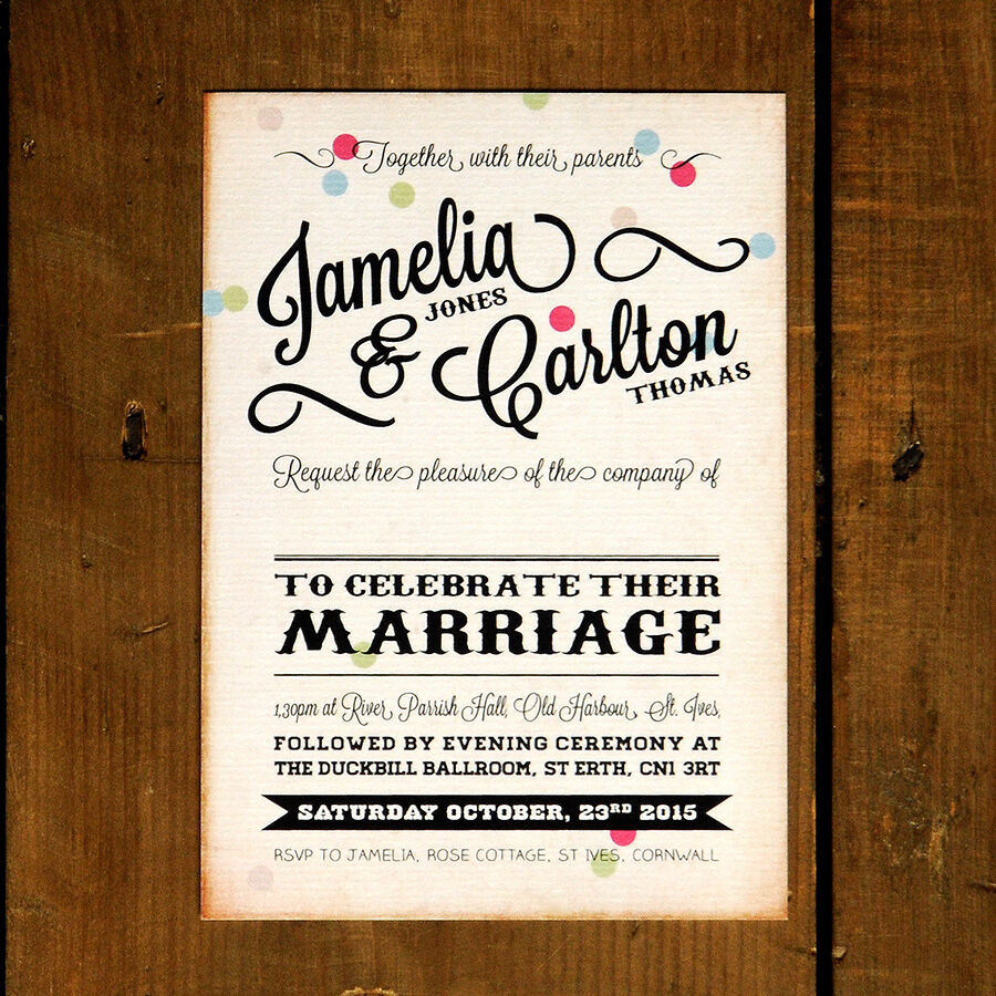 Vintage Confetti Wedding Invitation Day Evening