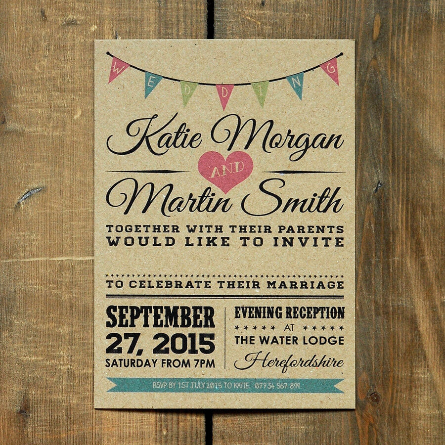 Vintage Wedding Invitations: Vintage Bunting Kraft Wedding Invitation