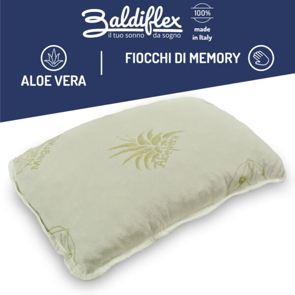 CUSCINO GUANCIALE FIOCCO IN MEMORY FOAM, 100% MADE IN ITALY, BALDIFLEX