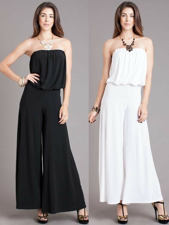 New Woman Sexy Strapless Jumpsuit Tube Loose Fitting Sexy Full Wide Leg S M L Ebay