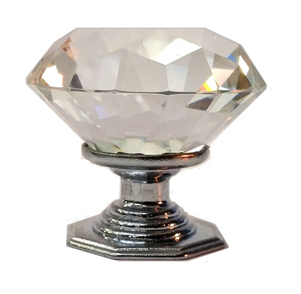 Diamond crystal glass door knobs drawer cabinet furniture kitchen handle ebay Glass furniture pulls