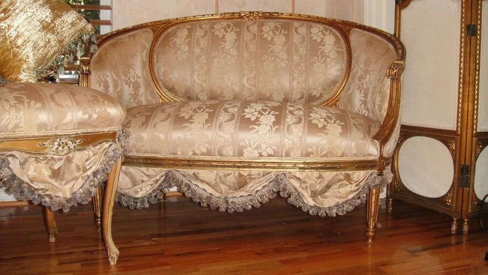 French antique settee sofa loveseat circa 1800 39 s scallops for Settees and sofas